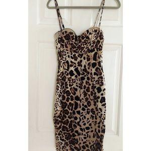 MARCIANO Loreta Leopard Bustier Dress Sz 6 US